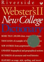 Webster's II New College Dictionary