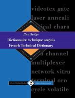 Routledge Dictionaire Technique Anglais, French Technical Dictionary
