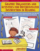 Graphic Organizers And Activities For Differentiated Instruction In Reading