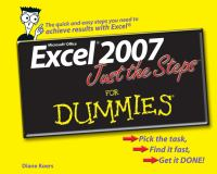 Excel 2007, Just the Steps for Dummies