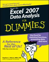 Microsoft Office Excel 2007 Data Analysis for Dummies