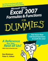 Microsoft Office Excel 2007 Formulas & Functions for Dummies