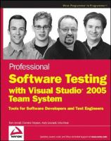 Professional Software Testing With Visual Studio 2005 Team System