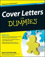 Cover Letters for Dummies, 3rd Edition
