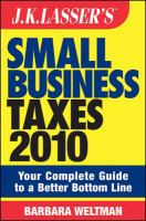 J.K. Lasser's Small Business Taxes 2010
