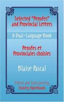 """Selected """"Pensées"""" and Provincial Letters"""