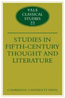 Studies in Fifth-century Thought and Literature