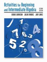 Activities for Beginning and Intermediate Algebra