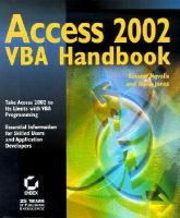 Access 2002 VBA Handbook