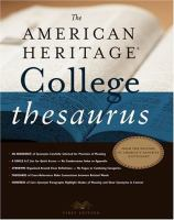 The American Heritage College Thesaurus