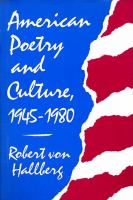 American Poetry and Culture, 1945-1980