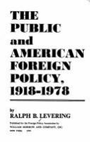 The Public and American Foreign Policy, 1918-1978
