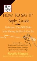 The How To Say It Style Guide