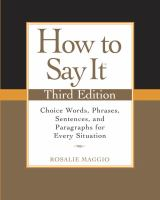 How to Say It