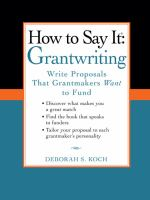 How to Say It--grantwriting