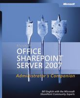 Microsoft Office SharePoint Server 2007 Administrator's Companion