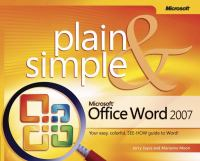 Microsoft Office Word 2007 Plain & Simple