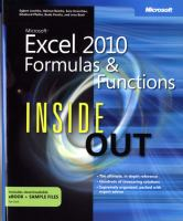 Microsoft Excel 2010 Formulas & Functions Inside Out