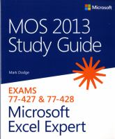 MOS Study Guide 2013 for Microsoft Excel Expert