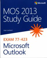MOS Study Guide 2013 for Microsoft Outlook