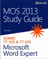 MOS Study Guide 2013 for Microsoft Word Expert