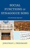 Social Functions of Synagogue Song