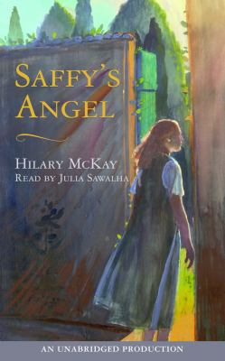The cover for the book Saffy's Angel by Hilary McKay shows a teenage girl walking through a door into an outdoor area