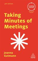 Taking Minutes of Meetings