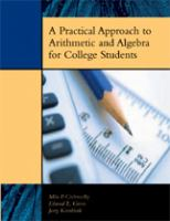 A Practical Approach to Arithmetic and Algebra for College Students