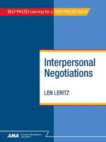 Interpersonal Negotiations