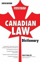 Barron's Canadian Law Dictionary