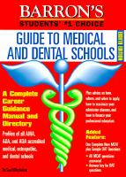 Barron's Guide to Medical and Dental Schools