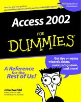 Access 2002 for Dummies