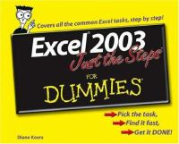Excel 2003 Just the Steps for Dummies
