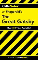 CliffsNotes Fitzgerald's The Great Gatsby