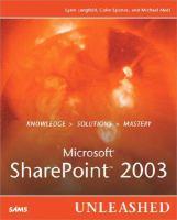 Microsoft SharePoint 2003 Unleashed