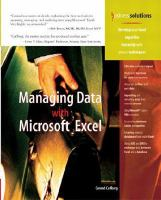 Managing Data With Microsoft Excel