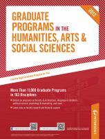 Peterson's Graduate Programs in the Humanities, Arts & Social Sciences 2012