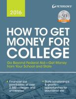 Peterson's How to Get Money for College 2016