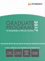 Peterson's Graduate Programs in Engineering & Applied Sciences 2017
