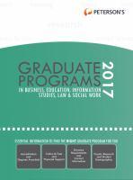 Peterson's Graduate Programs in Business, Education, Information Studies, Law & Social Work 2017