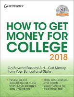Peterson's How to Get Money for College 2018