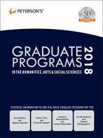 Peterson's Graduate Programs in the Humanities, Arts & Social Sciences 2018