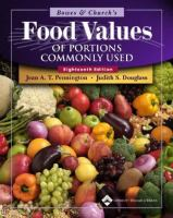 Bowes & Church's Food Values Of Portions Commonly Used