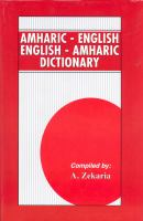 Dictionary Amharic-English, English-Amharic