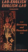 Lao-English, English-Lao Dictionary and Phrasebook