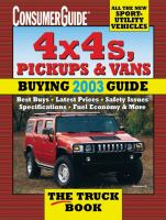 Consumer Guide 4 X 4s, Pickups and Vans