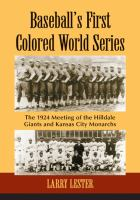 Baseball's First Colored World Series