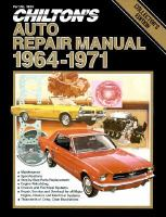Chilton's Auto Repair Manual, 1964-1971