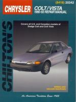 Chilton's Chrysler Colt/Vista 1990-93 Repair Manual
